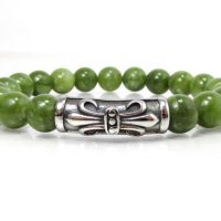 Canadian Light Green Jade Bracelet With 316l Stainless Steel Magnetic Clasp, Mens Gemstone Bracelet, Women Bracelet, Bracelet + Gift Box | Natural genuine Gemstone jewelry. Buy handcrafted artisan men's jewelry, gifts for men.  Unique handmade mens fashion accessories. #jewelry #beadedjewelry #beadedjewelry #shopping #gift #handmadejewelry #jewelry #affiliate #ad