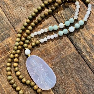 Sandalwood And Jade Mala Necklace / Fragrant Sandalwood / Burmese Jade / Prayer / Mala / Necklace / One-of-a-kind / Spiritual / Jewelry | Natural genuine Gemstone necklaces. Buy crystal jewelry, handmade handcrafted artisan jewelry for women.  Unique handmade gift ideas. #jewelry #beadednecklaces #beadedjewelry #gift #shopping #handmadejewelry #fashion #style #product #necklaces #affiliate #ad