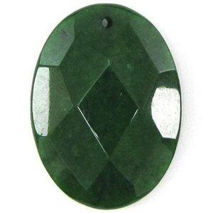 Shop Jade Bead Shapes! 2 Pieces 40mm Faceted Emerald Green Jade Flat Oval Bead Pendant 30455 | Natural genuine other-shape Jade beads for beading and jewelry making.  #jewelry #beads #beadedjewelry #diyjewelry #jewelrymaking #beadstore #beading #affiliate #ad