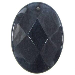 Shop Jade Bead Shapes! 2 Pieces 40mm Faceted Sapphire Blue Jade Flat Oval Bead Pendant 30457 | Natural genuine other-shape Jade beads for beading and jewelry making.  #jewelry #beads #beadedjewelry #diyjewelry #jewelrymaking #beadstore #beading #affiliate #ad