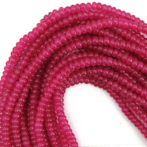 "Shop Jade Rondelle Beads! 6mm Magenta Mountain Jade Rondelle Beads 16"" Strand 12889 