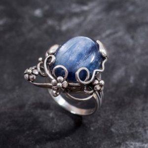 Shop Kyanite Rings! Kyanite Ring, Blue Kyanite, Natural Kyanite, Flowers Ring, Blue Kyanite Ring, Large Stone Ring, Large Kyanite, Vintage Ring, Silver Ring | Natural genuine Kyanite rings, simple unique handcrafted gemstone rings. #rings #jewelry #shopping #gift #handmade #fashion #style #affiliate #ad