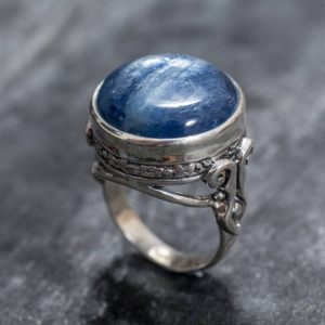 Shop Kyanite Rings! Kyanite Ring, Blue Kyanite, Natural Kyanite, Blue Kyanite Ring, Large Stone Ring, African Kyanite, Vintage Ring, Solid Silver Ring, Kyanite | Natural genuine Kyanite rings, simple unique handcrafted gemstone rings. #rings #jewelry #shopping #gift #handmade #fashion #style #affiliate #ad