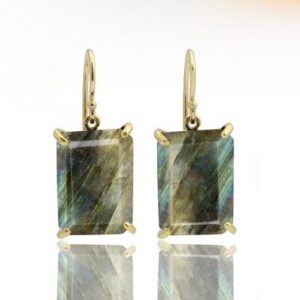Shop Labradorite Earrings! Gold Earrings, labradorite Earrings, rectangle Earrings, gemstone Earrings, prong Earrings, semiprecious Earrings | Natural genuine Labradorite earrings. Buy crystal jewelry, handmade handcrafted artisan jewelry for women.  Unique handmade gift ideas. #jewelry #beadedearrings #beadedjewelry #gift #shopping #handmadejewelry #fashion #style #product #earrings #affiliate #ad