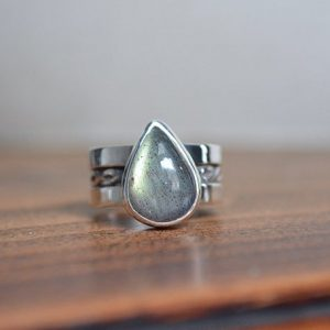 Shop Labradorite Rings! Labradorite Wide Ring, Labradorite Wide Band Ring, Labradorite Ring, Labradorite, Sterling Silver, Wide Band, Wide Band Ring, Pattern Ring | Natural genuine Labradorite rings, simple unique handcrafted gemstone rings. #rings #jewelry #shopping #gift #handmade #fashion #style #affiliate #ad