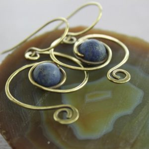 Shop Lapis Lazuli Earrings! Rustic swirl lapis brass dangle earrings, Gemstone earrings, Lapis lazuli earrings, Dangle earrings, Lightweight earrings – ER172 | Natural genuine Lapis Lazuli earrings. Buy crystal jewelry, handmade handcrafted artisan jewelry for women.  Unique handmade gift ideas. #jewelry #beadedearrings #beadedjewelry #gift #shopping #handmadejewelry #fashion #style #product #earrings #affiliate #ad
