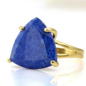 Shop Lapis Lazuli Rings! Lapis Lazuli Ring · Gold Cocktail Ring · Vintage Ring · September Ring · Gold Lapis Ring · Birthstone Ring · Trillion Cut Ring | Natural genuine Lapis Lazuli rings, simple unique handcrafted gemstone rings. #rings #jewelry #shopping #gift #handmade #fashion #style #affiliate #ad