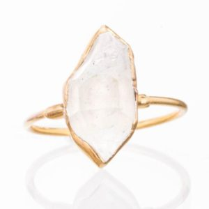 Shop Healing Gemstone Rings! Large Gold Raw Herkimer Diamond Ring For Women, Engagement Ring, Crystal Ring, Raw Diamond Ring, Raw Stone Ring, April Birthstone, Boho Ring | Natural genuine Gemstone rings, simple unique alternative gemstone engagement rings. #rings #jewelry #bridal #wedding #jewelryaccessories #engagementrings #weddingideas #affiliate #ad