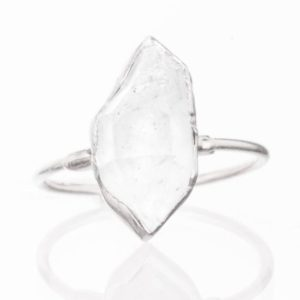 Large Silver Raw Herkimer Diamond Ring for Women, April Birthstone Boho Ring, Crystal Ring, Raw Diamond Ring, Raw Stone Ring, Statement Ring | Natural genuine Herkimer Diamond jewelry. Buy crystal jewelry, handmade handcrafted artisan jewelry for women.  Unique handmade gift ideas. #jewelry #beadedjewelry #beadedjewelry #gift #shopping #handmadejewelry #fashion #style #product #jewelry #affiliate #ad