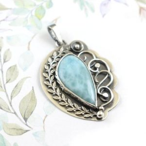Shop Larimar Pendants! Larimar pendant, retro pendant, blue metalwork jewelry, silver jewelry | Natural genuine Larimar pendants. Buy crystal jewelry, handmade handcrafted artisan jewelry for women.  Unique handmade gift ideas. #jewelry #beadedpendants #beadedjewelry #gift #shopping #handmadejewelry #fashion #style #product #pendants #affiliate #ad