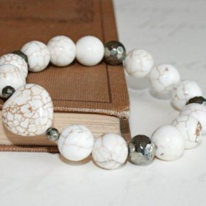 Shop Magnesite Bracelets! Valentine gift, Heart bracelet, Pyrite and White Turquoise Bracelet, White bracelet, Magnesite bracelet, Magnesite and Pyrite Bracelet | Natural genuine Magnesite bracelets. Buy crystal jewelry, handmade handcrafted artisan jewelry for women.  Unique handmade gift ideas. #jewelry #beadedbracelets #beadedjewelry #gift #shopping #handmadejewelry #fashion #style #product #bracelets #affiliate #ad