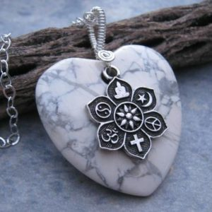 Shop Magnesite Pendants! Magnesite Coexist Necklace, .925 Sterling Silver Necklace, Tolerance Jewelry, Lotus Flower Gemstone Heart Pendant, Choose Length CH11 | Natural genuine Magnesite pendants. Buy crystal jewelry, handmade handcrafted artisan jewelry for women.  Unique handmade gift ideas. #jewelry #beadedpendants #beadedjewelry #gift #shopping #handmadejewelry #fashion #style #product #pendants #affiliate #ad