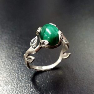 Shop Malachite Rings! Branch Ring, Natural Malachite, Artisan Ring, Floral Ring, Leaf Ring, Green Vintage Ring, Malachite Ring, Flower Ring, Solid Silver Ring | Natural genuine Malachite rings, simple unique handcrafted gemstone rings. #rings #jewelry #shopping #gift #handmade #fashion #style #affiliate #ad