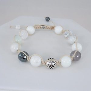Shop Magnesite Bracelets! Men's White Magnesite Bracelet, Shamballa Bracelet, Bead Bracelet, Sterling Silver Bead, Adjustable, Off White Cording | Natural genuine Magnesite bracelets. Buy crystal jewelry, handmade handcrafted artisan jewelry for women.  Unique handmade gift ideas. #jewelry #beadedbracelets #beadedjewelry #gift #shopping #handmadejewelry #fashion #style #product #bracelets #affiliate #ad
