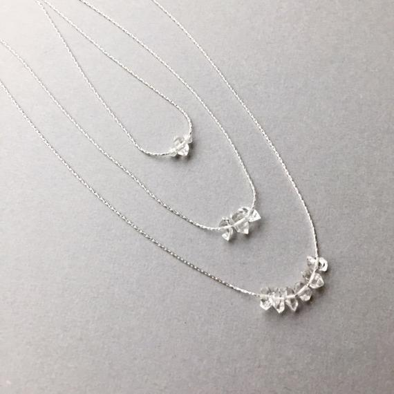 """Minimalist Herkimer Diamond Necklace, Sterling Silver 15""""-18"""" Chain, Dainty Delicate Layering, April Birthstone, Girlfriend Gift For Women"""