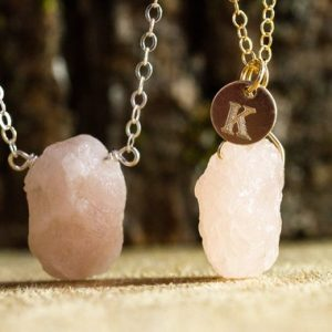 Shop Morganite Necklaces! Raw Morganite Necklace – Personalized And Custom Jewelry – Heart Chakra Stone – | Natural genuine Morganite necklaces. Buy crystal jewelry, handmade handcrafted artisan jewelry for women.  Unique handmade gift ideas. #jewelry #beadednecklaces #beadedjewelry #gift #shopping #handmadejewelry #fashion #style #product #necklaces #affiliate #ad