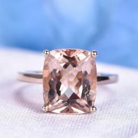 Big Morganite Engagement Ring Rose Gold Solitaire Promise Ring 10x12mm Cushion Cut Vs Clarity Stone Plain Gold Band Personalized For Her | Natural genuine Gemstone jewelry. Buy handcrafted artisan wedding jewelry.  Unique handmade bridal jewelry gift ideas. #jewelry #beadedjewelry #gift #crystaljewelry #shopping #handmadejewelry #wedding #bridal #jewelry #affiliate #ad