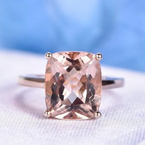 Big Morganite Engagement Ring Rose Gold Solitaire Promise Ring 10x12mm Cushion Cut Vs Clarity Stone Plain Gold Band Personalized For Her | Natural genuine Gemstone rings, simple unique alternative gemstone engagement rings. #rings #jewelry #bridal #wedding #jewelryaccessories #engagementrings #weddingideas #affiliate #ad