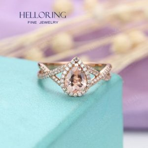 Morganite engagement ring Pear shaped engagement ring Rose gold Women Wedding Halo moissanite/diamond Jewelry Bridal Anniversary Twisted | Natural genuine Array rings, simple unique alternative gemstone engagement rings. #rings #jewelry #bridal #wedding #jewelryaccessories #engagementrings #weddingideas #affiliate #ad