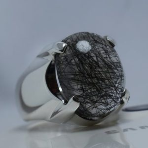 Shop Rutilated Quartz Rings! Natural  Black Rutilated Quartz Ring 925 Sterling Silver Men's Handmade Ring Dur Al Najaf Ring Real Black Rutile Premium Quality Stone | Natural genuine Rutilated Quartz rings, simple unique handcrafted gemstone rings. #rings #jewelry #shopping #gift #handmade #fashion #style #affiliate #ad
