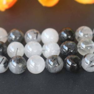 "Natural Black Rutilated Quartz Round Beads,6mm 8mm 10mm 12mm Natural Rutilated Crystal Beads,Quartz Beads supply,15"" strand 