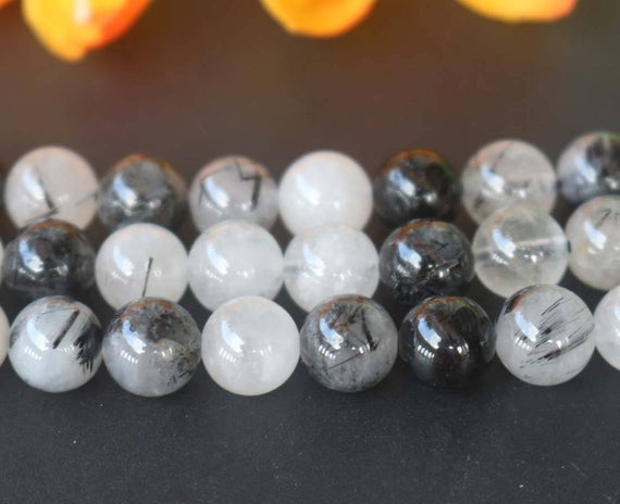 "Natural Black Rutilated Quartz Round Beads,6mm 8mm 10mm 12mm Natural Rutilated Crystal Beads,quartz Beads Supply,15"" Strand"