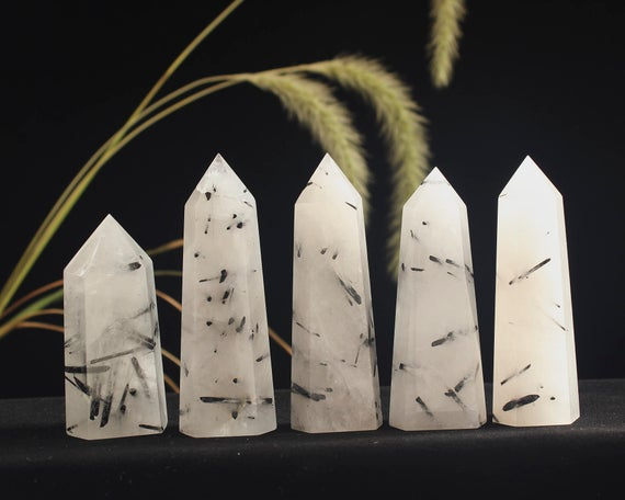 Natural Black Rutilated Quartz Tower Point/black Tourmaline Crystal Tower/black Rutilated Quartz Quartz Wand/obelisk/healing Crystal