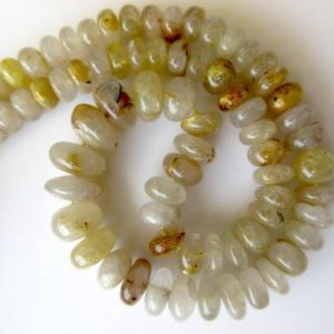 Shop Rutilated Quartz Rondelle Beads! Natural Gold Rutilated Quartz Rondelle Beads, Gold Rutile Quartz Beads, 8.5mm to 14mm Beads, 18 Inch Strand, GDS675 | Natural genuine rondelle Rutilated Quartz beads for beading and jewelry making.  #jewelry #beads #beadedjewelry #diyjewelry #jewelrymaking #beadstore #beading #affiliate #ad