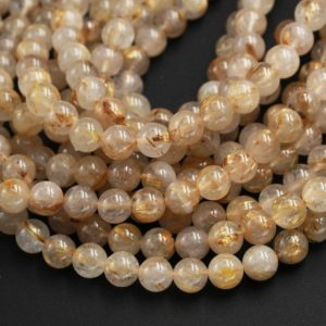 "Natural Golden Rutile Quartz 4mm 6mm 8mm 10mm 12mm Round Gold Yellow Rutilated Quartz Beads Tons of Sharp Rutile Hair Needle 15.5"" Strand 