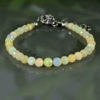 Genuine Ethiopian Opal Bracelet Fire Opal October Birthstone Birthday Gift For Mom Dainty Gift For Wife For True Love | Natural genuine Gemstone jewelry. Buy crystal jewelry, handmade handcrafted artisan jewelry for women.  Unique handmade gift ideas. #jewelry #beadedjewelry #beadedjewelry #gift #shopping #handmadejewelry #fashion #style #product #jewelry #affiliate #ad