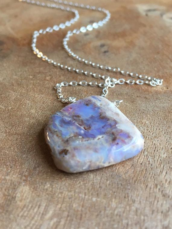 Raw Opal Pendant Necklace - Opal Jewelry - October Birthstone Jewelry - Raw Stone Necklace - Gold Australian Opal - Gift For Wife