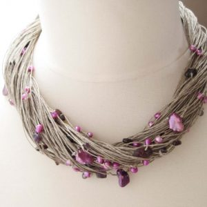 Shop Pearl Jewelry! Purple Pearl Necklace, Multi Strand Necklace, Linen Necklace, Freshwater Pearls, Lavender | Natural genuine Pearl jewelry. Buy crystal jewelry, handmade handcrafted artisan jewelry for women.  Unique handmade gift ideas. #jewelry #beadedjewelry #beadedjewelry #gift #shopping #handmadejewelry #fashion #style #product #jewelry #affiliate #ad