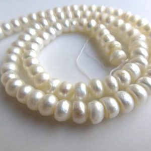Shop Pearl Rondelle Beads! White Fresh Water Pearl Rondelles, Natural Cultured Pearls, High Lustre Loose Pearls, 1 Strand, 15 Inches, 6mm Each, Sku-fp31 | Natural genuine rondelle Pearl beads for beading and jewelry making.  #jewelry #beads #beadedjewelry #diyjewelry #jewelrymaking #beadstore #beading #affiliate #ad
