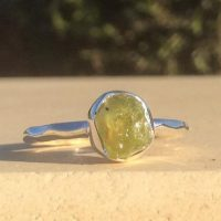 August Birthstone Silver Ring, Raw Peridot Silver Ring, Natural Gemstone Ring | Natural genuine Gemstone jewelry. Buy crystal jewelry, handmade handcrafted artisan jewelry for women.  Unique handmade gift ideas. #jewelry #beadedjewelry #beadedjewelry #gift #shopping #handmadejewelry #fashion #style #product #jewelry #affiliate #ad