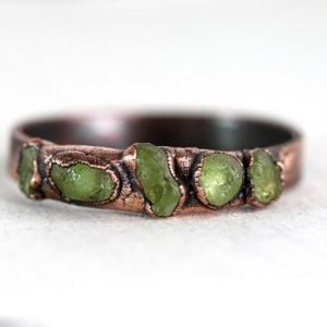 Shop Peridot Rings! Raw Peridot Ring – August Birthstone Ring – Wide Band Ring – Copper and Peridot Ring – Multi Stone Ring – Peridot Jewelry | Natural genuine Peridot rings, simple unique handcrafted gemstone rings. #rings #jewelry #shopping #gift #handmade #fashion #style #affiliate #ad