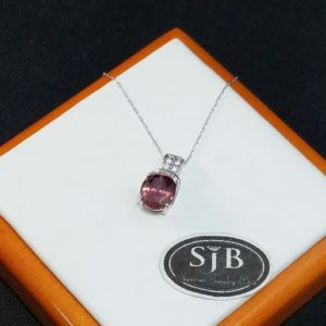 """Shop Zircon Pendants! Pink Zircon Pendant, Rose Zircon Pendant, 14k White Gold Pink Zircon & Diamond Pendant with 18"""" chain, December Birthstone Jewelry, #P568 