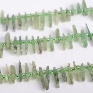 "Shop Prehnite Chip & Nugget Beads! 6-10MM Epidote In Prehnite Beads Stick Pebble Chip Grade AA Genuine Natural Gemstone Beads 16"" Bulk Lot Options (108372-2646) 