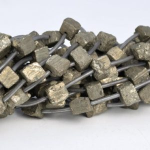 "Shop Pyrite Bead Shapes! 8-10MM Copper Pyrite Beads Hexagon Cube Grade AAA Natural Gemstone Full Strand Loose Beads 15.5"" BULK LOT 1,3,5,10 and 50 (104530-1232) 