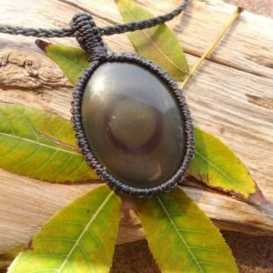 Rainbow Obsidian necklace / protection stone pendant macrame for Men Office jewelry gift for him | Natural genuine Rainbow Obsidian necklaces. Buy handcrafted artisan men's jewelry, gifts for men.  Unique handmade mens fashion accessories. #jewelry #beadednecklaces #beadedjewelry #shopping #gift #handmadejewelry #necklaces #affiliate #ad