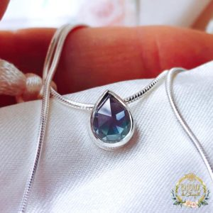 Shop Alexandrite Pendants! Romantic Rare Rose-cut Pear Alexandrite Sliding Pendant Necklace in solid Silver. | Natural genuine Alexandrite pendants. Buy crystal jewelry, handmade handcrafted artisan jewelry for women.  Unique handmade gift ideas. #jewelry #beadedpendants #beadedjewelry #gift #shopping #handmadejewelry #fashion #style #product #pendants #affiliate #ad