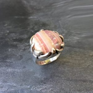 Shop Rhodochrosite Jewelry! Rhodochrosite Ring, Natural Stone, Vintage Ring, Statement Ring, Large Stone Ring, Natural Stone Ring, Solid Silver Ring, Pure Silver | Natural genuine Rhodochrosite jewelry. Buy crystal jewelry, handmade handcrafted artisan jewelry for women.  Unique handmade gift ideas. #jewelry #beadedjewelry #beadedjewelry #gift #shopping #handmadejewelry #fashion #style #product #jewelry #affiliate #ad