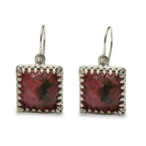 Sterling Silver Square Earrings, rhodonite Earrings, pink Earrings, silver Dangle Earrings, drop Square Earrings, gemstone Earrings | Natural genuine Rhodonite earrings. Buy crystal jewelry, handmade handcrafted artisan jewelry for women.  Unique handmade gift ideas. #jewelry #beadedearrings #beadedjewelry #gift #shopping #handmadejewelry #fashion #style #product #earrings #affiliate #ad