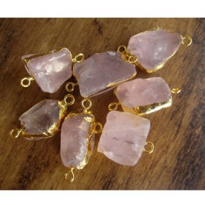 Shop Rose Quartz Chip & Nugget Beads! 2 Pieces Raw Rose Quartz Connectors, Rough Gemstone Connectors, Natural Rose Quartz Crystal, Rose Quartz Rough, 22-28mm | Natural genuine chip Rose Quartz beads for beading and jewelry making.  #jewelry #beads #beadedjewelry #diyjewelry #jewelrymaking #beadstore #beading #affiliate #ad