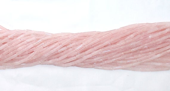 "Rose Quartz 4x13mm Tube (cylinder) Gemstone Beads - 15.75"" Strand"