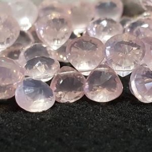 Shop Rose Quartz Bead Shapes! Rose Quartz Concave Faceted Briolette Beads 8 In. Strand, Heart Shape Briolette, Gemstone Bead Strand, Natural Stone, AA Designer Quality | Natural genuine other-shape Rose Quartz beads for beading and jewelry making.  #jewelry #beads #beadedjewelry #diyjewelry #jewelrymaking #beadstore #beading #affiliate #ad