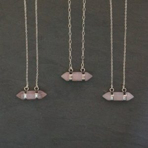 Shop Rose Quartz Jewelry! Rose Quartz Necklace / Silver Rose Quartz Necklace / Silver Rose Quartz Pendant / Silver Rose Quartz Jewelry / Layering Necklace | Natural genuine Rose Quartz jewelry. Buy crystal jewelry, handmade handcrafted artisan jewelry for women.  Unique handmade gift ideas. #jewelry #beadedjewelry #beadedjewelry #gift #shopping #handmadejewelry #fashion #style #product #jewelry #affiliate #ad