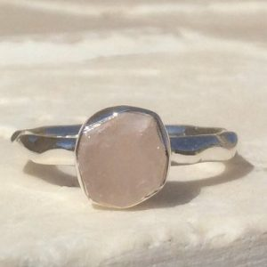 Shop Rose Quartz Rings! Raw Rose Quartz Silver Ring, 925 Gemstone Ring, Rough Natural Stone Silver Jewellery | Natural genuine Rose Quartz rings, simple unique handcrafted gemstone rings. #rings #jewelry #shopping #gift #handmade #fashion #style #affiliate #ad