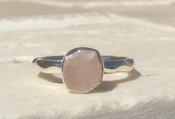 Raw Rose Quartz Silver Ring, 925 Gemstone Ring, Rough Natural Stone Silver Jewellery