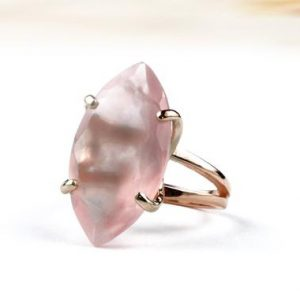 Shop Rose Quartz Rings! Rose Quartz Ring, statement Ring, love Rings, marquise Ring, gemstone Ring, january Birthstone Ring, coctail Ring | Natural genuine Rose Quartz rings, simple unique handcrafted gemstone rings. #rings #jewelry #shopping #gift #handmade #fashion #style #affiliate #ad