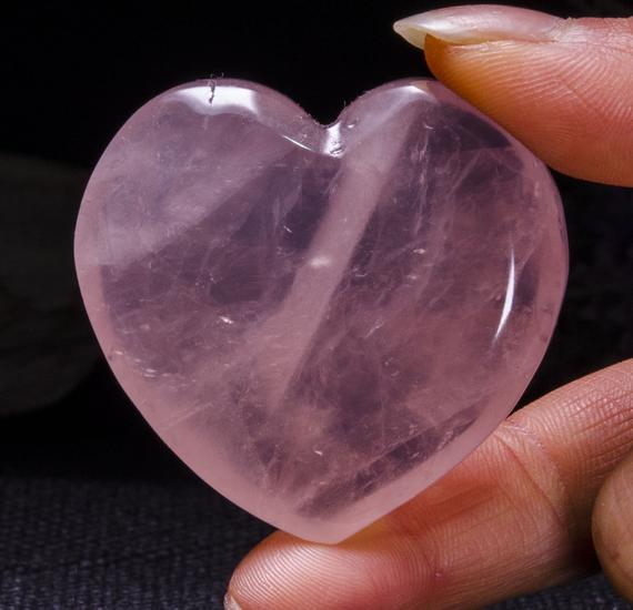 Best Clear Hand Carved Pink Quartz Polished Heart Shaped / Rose Quartz Love Stone / Pink Heart / Rose Quartz Heart / Jewelry / Special Gift / #4400